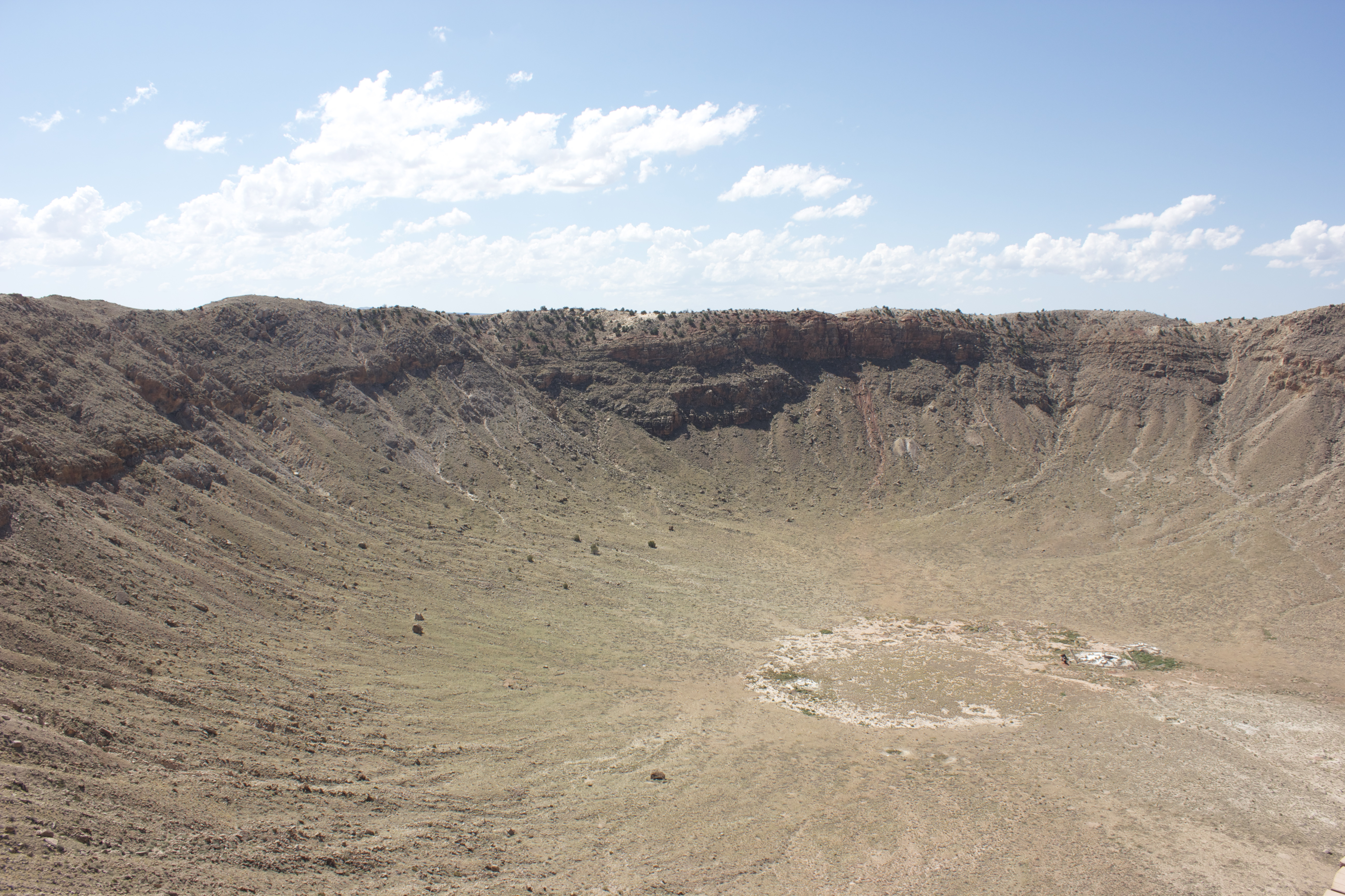 Meteor Crater, a meteorite impact crater near Winslow Arizona (and the largest in the United States).