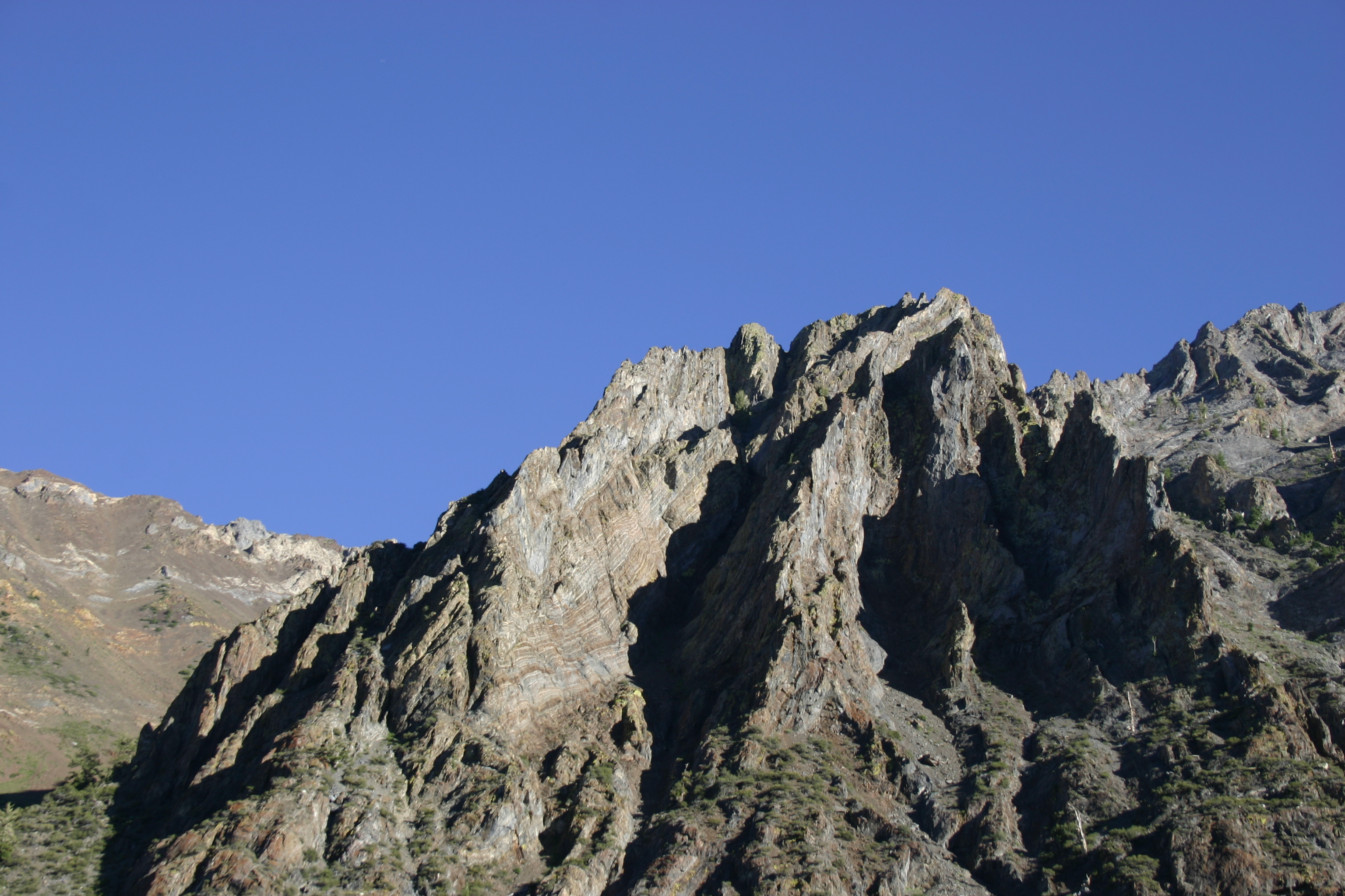 Interesting mountain shapes and shadows near Mammoth Lakes.