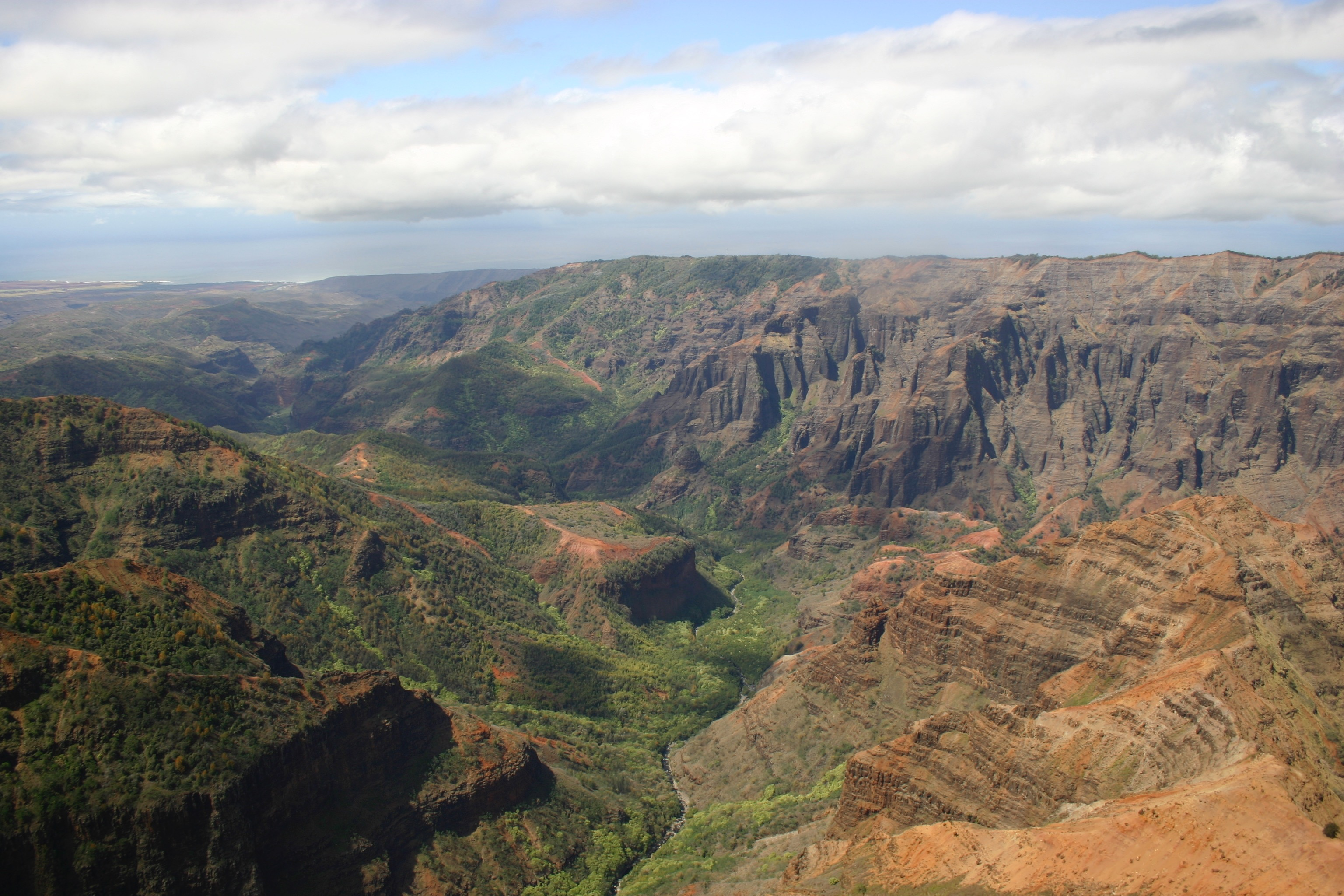 Waimea Canyon, also known as the Grand Canyon of the Pacific, seen from a helicopter.