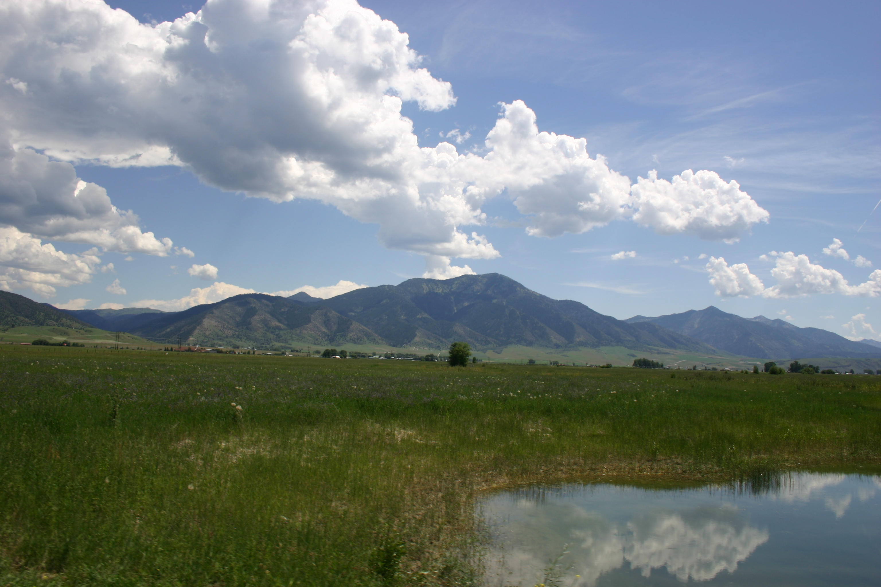 A pond reflects fluffy white clouds on a mountain-flanked plain in Idaho.
