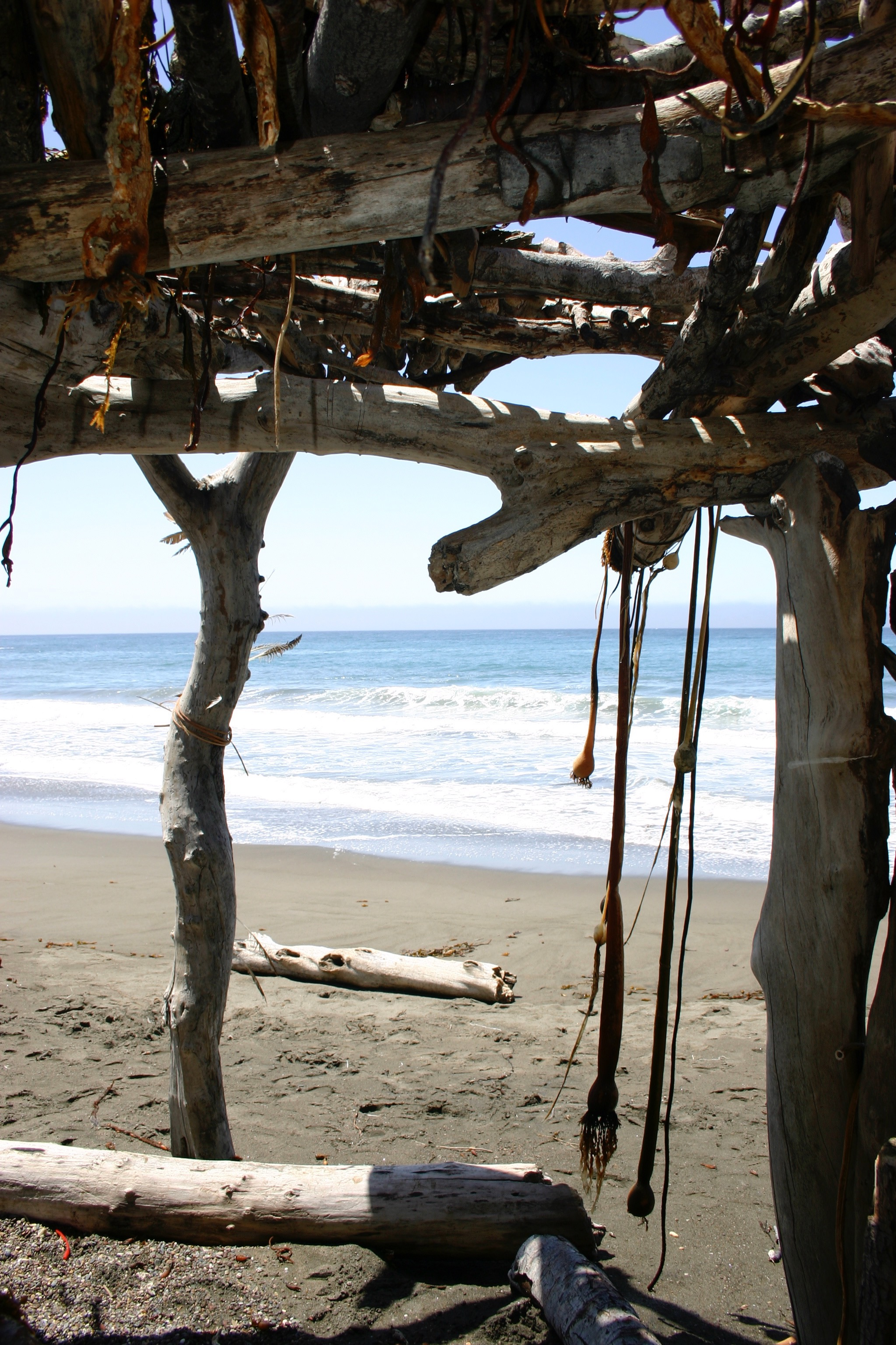 Inside a hut constructed of driftwood and seaweed on the beach.