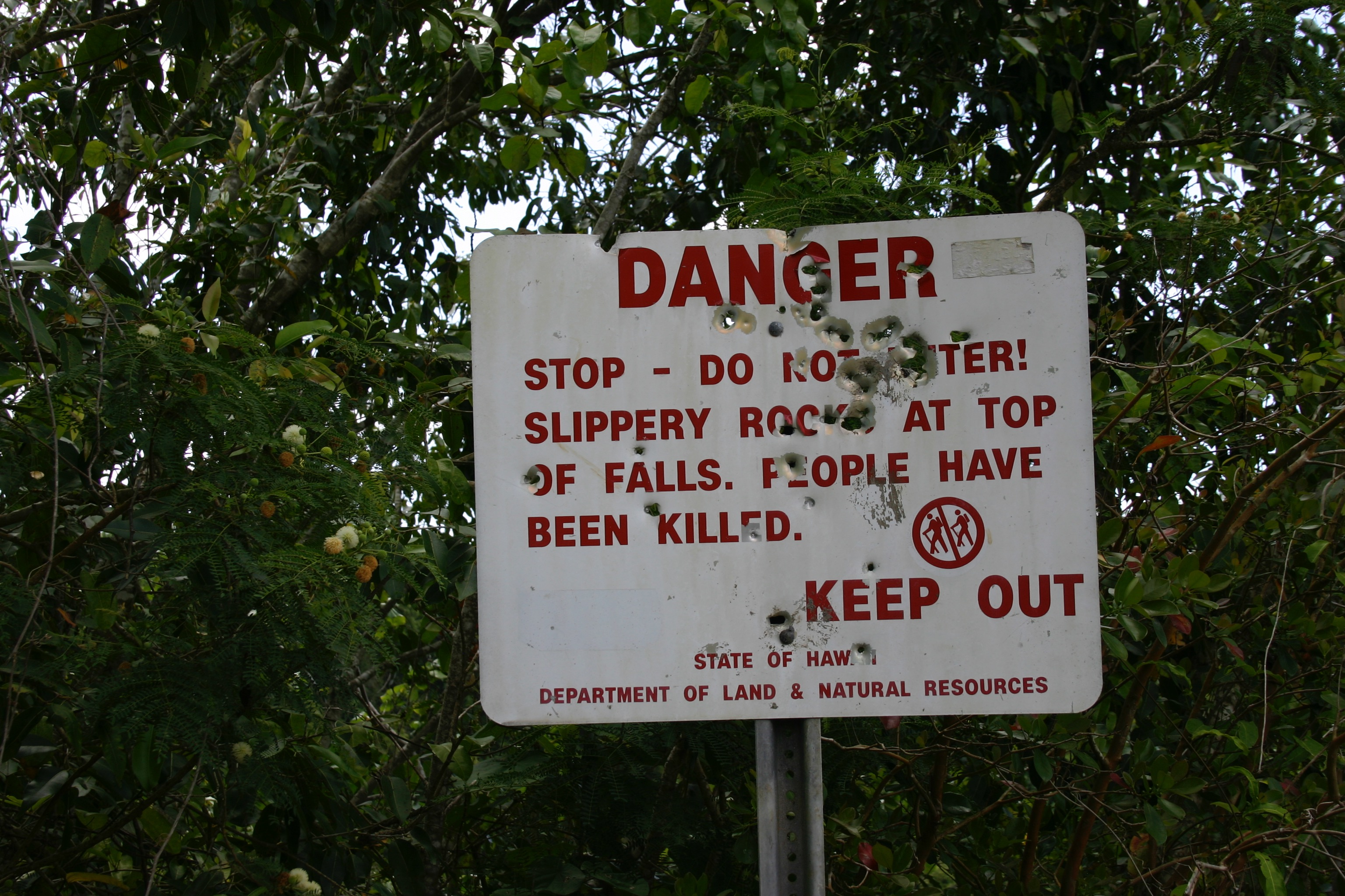 "Danger sign near Wailua Falls. Locals use it for target practice. It reads: ""Danger. Stop - Do not enter! Slippery rocks at top of falls. People have been killed. Keep out. State of Hawaii Department of Land & Natural Resources."""