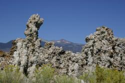 Tufa towers frame snow-dotted mountains at Mono Lake.