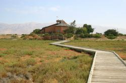 A zig-zaggy boardwalk leads to the Environmental Education Center in Alviso, California.